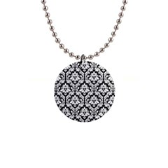 White On Black Damask Button Necklace