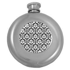 White On Black Damask Hip Flask (Round)