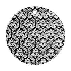 White On Black Damask Round Ornament (two Sides)