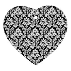 White On Black Damask Heart Ornament (Two Sides)