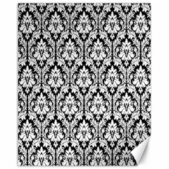 White On Black Damask Canvas 16  x 20  (Unframed)