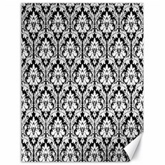 White On Black Damask Canvas 18  x 24  (Unframed)