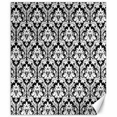 White On Black Damask Canvas 20  X 24  (unframed)