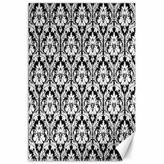 White On Black Damask Canvas 20  x 30  (Unframed)