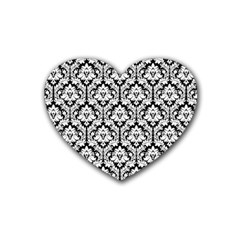 White On Black Damask Drink Coasters 4 Pack (Heart)