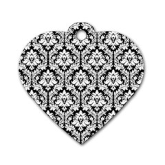 White On Black Damask Dog Tag Heart (two Sided)