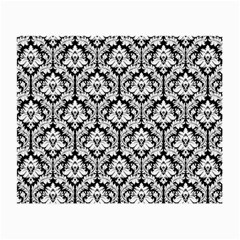 White On Black Damask Glasses Cloth (Small, Two Sided)