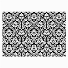 White On Black Damask Glasses Cloth (Large, Two Sided)