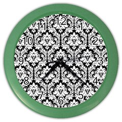 White On Black Damask Wall Clock (color)
