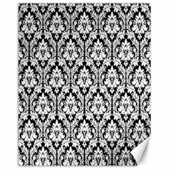 White On Black Damask Canvas 11  x 14  (Unframed)