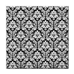 Black & White Damask Pattern Face Towel