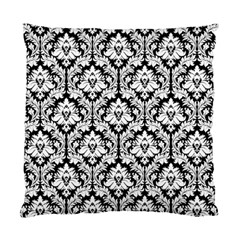 Black & White Damask Pattern Standard Cushion Case (two Sides)