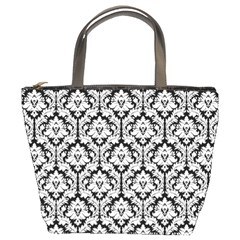 Black & White Damask Pattern Bucket Bag