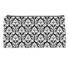 White On Black Damask Pencil Case