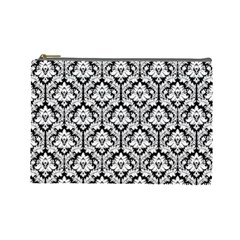 Black & White Damask Pattern Cosmetic Bag (large)