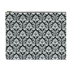 Black & White Damask Pattern Cosmetic Bag (xl)