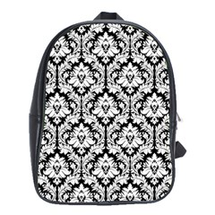 Black & White Damask Pattern School Bag (Large)