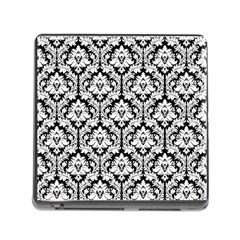White On Black Damask Memory Card Reader with Storage (Square)