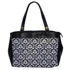 White On Black Damask Oversize Office Handbag (one Side)