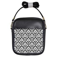 Black & White Damask Pattern Girls Sling Bag