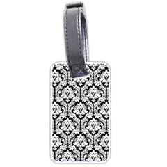 White On Black Damask Luggage Tag (two Sides)
