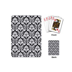 White On Black Damask Playing Cards (Mini)