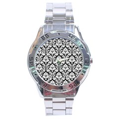 White On Black Damask Stainless Steel Watch