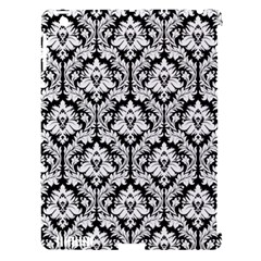 White On Black Damask Apple iPad 3/4 Hardshell Case (Compatible with Smart Cover)