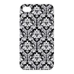 White On Black Damask Apple iPhone 4/4S Premium Hardshell Case