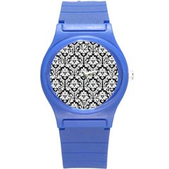 White On Black Damask Plastic Sport Watch (Small)