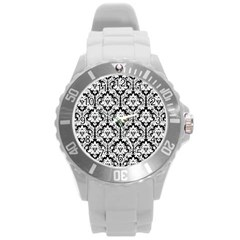 White On Black Damask Plastic Sport Watch (Large)
