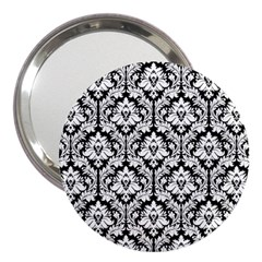 White On Black Damask 3  Handbag Mirror