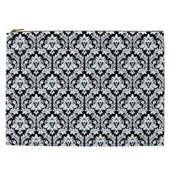 White On Black Damask Cosmetic Bag (xxl)