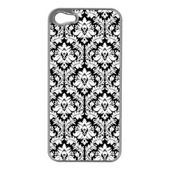 White On Black Damask Apple iPhone 5 Case (Silver)