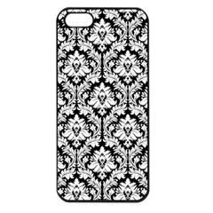 White On Black Damask Apple Iphone 5 Seamless Case (black)