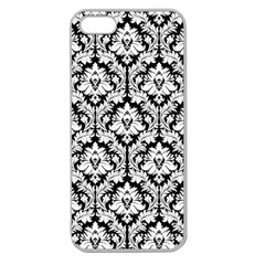 White On Black Damask Apple Seamless Iphone 5 Case (clear)