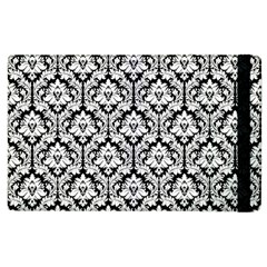 White On Black Damask Apple Ipad 3/4 Flip Case