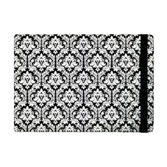 White On Black Damask Apple Ipad Mini Flip Case