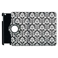 White On Black Damask Apple Ipad 2 Flip 360 Case