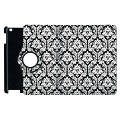 White On Black Damask Apple iPad 3/4 Flip 360 Case