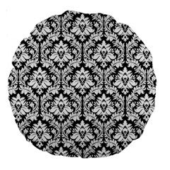 Black & White Damask Pattern Large 18  Premium Round Cushion