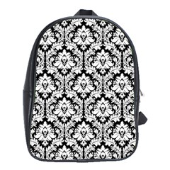 Black & White Damask Pattern School Bag (xl)
