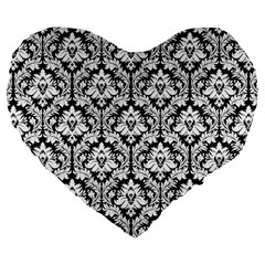 Black & White Damask Pattern Large 19  Premium Heart Shape Cushion