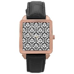 White On Black Damask Rose Gold Leather Watch