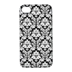 White On Black Damask Apple Iphone 4/4s Hardshell Case With Stand