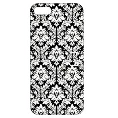 White On Black Damask Apple Iphone 5 Hardshell Case With Stand