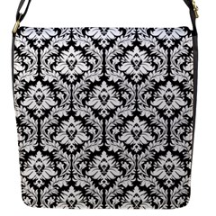 Black & White Damask Pattern Flap Closure Messenger Bag (s)