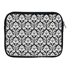 White On Black Damask Apple iPad Zippered Sleeve
