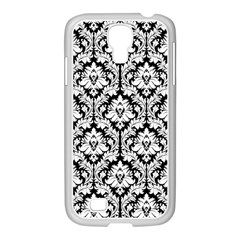 White On Black Damask Samsung GALAXY S4 I9500/ I9505 Case (White)