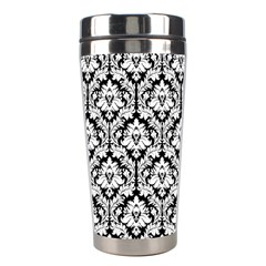 White On Black Damask Stainless Steel Travel Tumbler